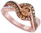 Cognac Diamond Bridal Ring 14K Rose Gold 1.34 cts. GD-94294