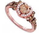 Cognac Diamond Bridal Ring 14K Rose Gold 1.35 cts. GD-94302