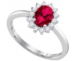 Ladies Diamond Ruby Ring 14K White Gold 1.36 cts. GD-94710
