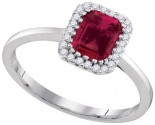 Ladies Diamond Ruby Ring 14K White Gold 1.20 cts. GD-94715