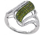 Green Diamond Fashion Ring 10K White Gold 0.50 cts. GD-95051