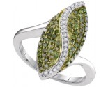 Green Diamond Fashion Ring 10K White Gold 0.50 cts. GD-95055