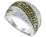 Green Diamond Fashion Ring 10K White Gold 0.55 cts. GD-95073