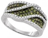 Green Diamond Fashion Ring 10K White Gold 0.55 cts. GD-95075