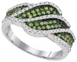 Green Diamond Fashion Ring 10K White Gold 0.75 cts. GD-95081