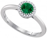 Ladies Diamond Emerald Ring 14K White Gold 0.77 cts. GD-95339
