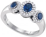 Ladies Diamond Sapphire Ring 14K White Gold 1.28 cts. GD-95351