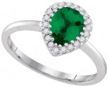Ladies Diamond Emerald Ring 14K White Gold 0.98 cts. GD-95360