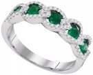 Ladies Diamond Emerald Band 14K White Gold 0.82 cts. GD-95380
