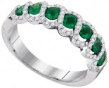 Ladies Diamond Emerald Band 14K White Gold 0.99 cts. GD-95381