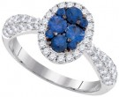 Ladies Diamond Sapphire Ring 14K White Gold 1.47 cts. GD-95457