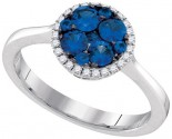 Ladies Diamond Sapphire Ring 14K White Gold 0.75 cts. GD-95474