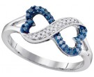 Blue Diamond Infinity Ring 10K White Gold 0.16 cts. GD-97544