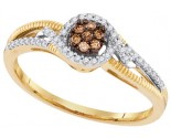 Cognac Brown Diamond Ring 10K Yellow Gold 0.20 cts. GD-99881