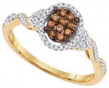 Cognac Brown Diamond Ring 10K Yellow Gold 0.25 cts. GD-99883