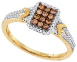 Cognac Brown Diamond Ring 10K Yellow Gold 0.33 cts. GD-99885