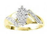 Ladies Diamond Ring 10K Two Tone Gold 0.05 cts. GS-21012