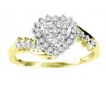 Ladies Diamond Heart Ring 10K Two Tone Gold 0.25 cts. GS-21067