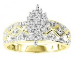 Ladies Diamond Ring 10K Two Tone Gold 0.16 cts. GS-21102