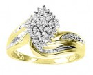 Ladies Diamond Ring 10K Two Tone Gold 0.2 cts. GS-21127
