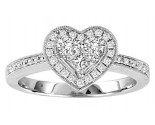 Ladies Diamond Heart Ring 14K White Gold 0.55 cts. GS-21177