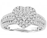 Ladies Diamond Heart Ring 14K White Gold 1.00 ct. GS-22725