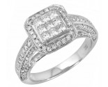 Ladies Diamond Fashion Ring 14K White Gold 1.35 cts. JRX-9R1201
