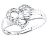 Ladies Diamond Heart Ring 14K White Gold 0.10 cts. S16-18