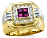 Men's Diamond Ruby Ring 14K Two Tone Gold 1.25 cts. S18-1