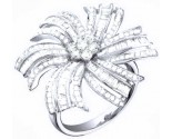 Ladies Diamond Flower Ring 14K White Gold 1.55 cts. S28-2