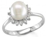 Ladies Diamond Pearl Ring 14K White Gold 0.20 cts S7-22