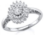 Ladies Diamond Flower Ring 14K White Gold 0.25 ct S7-26
