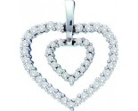 Diamond Heart Pendant 14K White Gold 0.50 cts. GD-18775