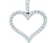 Diamond Heart Pendant 14K White Gold 0.48 cts. GD-38906