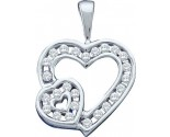 Diamond Heart Pendant 10K White Gold 0.25 cts. GD-42195