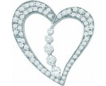 Diamond Heart Pendant 14K White Gold 0.51 cts. GD-57408