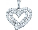 Diamond Heart Pendant 10K White Gold 0.40 cts. GD-60215