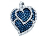 Blue Diamond Heart Pendant 10K White Gold 1.05 cts. GD-72393