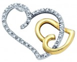 Diamond Heart Pendant 10K Two Tone Gold 0.16 cts. GD-74885