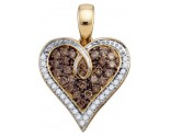 Brown Diamond Heart Pendant 10K Yellow Gold 0.51 cts. GD-74905