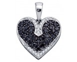 Black Diamond Heart Pendant 10K White Gold 0.51 cts. GD-74906