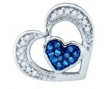 Blue Diamond Heart Pendant 10K White Gold 0.35 cts. GD-79855