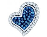 Blue Diamond Heart Pendant 10K White Gold 0.35 cts. GD-79877