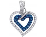 Blue Diamond Heart Pendant 10K White Gold 0.26 cts. GD-87086