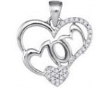 Diamond Mom Heart Pendant 10K White Gold 0.15 cts. GD-88003