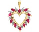 Diamond Ruby Heart Pendant 14K Yellow Gold 1.25 cts. S4-18