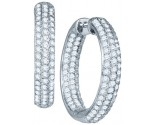 Diamond Hoop Fashion Earrings 10K White Gold 3.02 cts. GD-47949