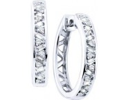 Diamond Hoop Earrings 14K White Gold 0.50 cts. GD-48428 [GD-48428]