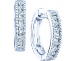 Diamond Hoop Earrings 14K White Gold 0.26 cts. GD-49001