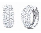 Diamond Hoop Earrings 14K White Gold 4.10 cts. S37-4